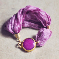 spring fashion jewelry unique bold sweet  candy pink jade stone and silk by YUNILIsmiles