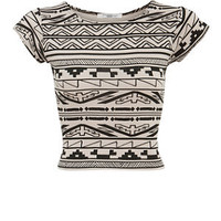 Black Block Aztec Print Cap Sleeve Crop Top