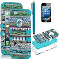 Amazon.com: Pandamimi ULAK(TM) 3-Piece Hybrid High Impact Case Tribal Green/blue Silicone for iphone 5 5th + Screen Protector + Stylus: Cell Phones &amp; Accessories