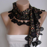 Black Flowered  Elegance Shawl / Scarf  by womann on Etsy