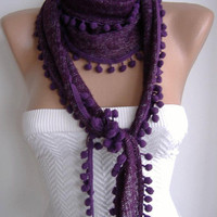 Purple and Elegance Shawl with Pompom by womann on Etsy