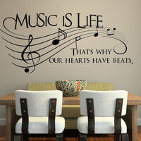 Music is life.. That&#x27;s why our hearts have beats Vinyl Wall Decal Sticker Art