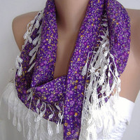 Purple Flowered and Elegance Shawl with Lace Edge by womann