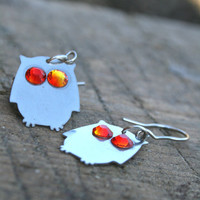 Owl earrings  surgical wire funny bird earrings by HorakovaDesigns
