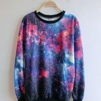 Women's Galaxy Space Starry Print Girl Long Sleeve Top Round T Shirt Red&blue
