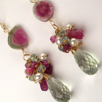 Watermelon Tourmaline Cluster Earrings by TownCountryJewelry