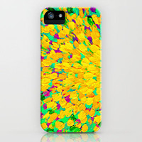 SPRING SPLASH - Bright Cheerful Lime Sunshine Yellow Lavender Lilac Purple Ocean Beach Waves iPhone Case by EbiEmporium