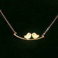 Love Birds Necklace Twins Birds Pendant Birds On A Branch Necklace
