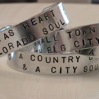 Handstamped City Girl Country Girl Bracelet