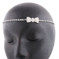 Ladies Silver with Clear Iced Out Bow Head Chain: Jewelry from BNM CORP
