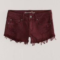 AEO Women's Destroyed Festival Shortie (Raspberry)