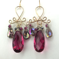 Multicolor Gemstone Chandelier Earrings 14kt by TownCountryJewelry