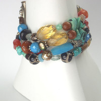 Multicolor Gemstone Cuff Bracelet Sterling by TownCountryJewelry