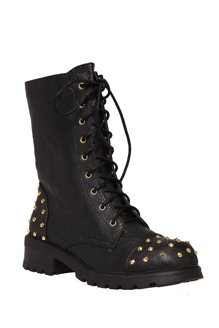black and gold stud combat boot 730936 from topic