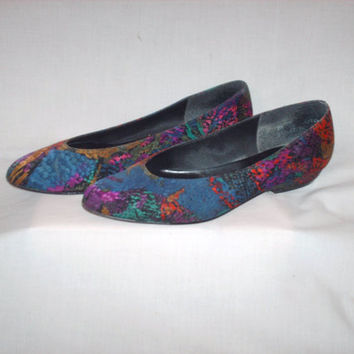Vintage 1980s Flat Shoes Multicolored Splatter Style