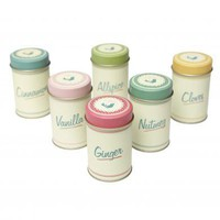 Set Of 6 Pantry Design Spice Tins