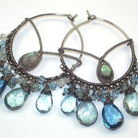 London Blue Topaz Large Hoop Earrings by TownCountryJewelry
