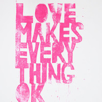 Love Makes Everything Ok Linocut Linoprint by nikimilns on Etsy