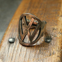 Vintage VW Beetle Key Finger Ring Volkswagon Solid Bronze Automotive Motors Car