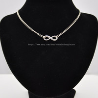 Sliver infinity necklace chain necklace with chain and sliver infinity pendant necklace for women jewelry   d-128