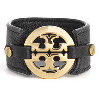 Tory Burch Leather Logo Buckle Bracelet