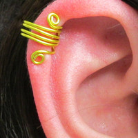 Spiral Ear Cuff, Ear Wrap, No Pierce, Yellow