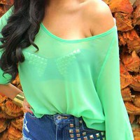 Sheer mint blouse from LookatmyCloset