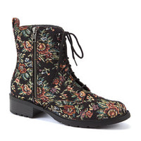 Black Floral Tapestry Lace Up Boots