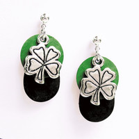 Shamrock Earrings - Black Patina&#x27;d Metal Disc, Green Patina&#x27;d Metal Disc, and Pewter Shamrock Charm - on Ear Posts or Ear Wires