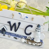 Ocean Style WC Sign Door Plate