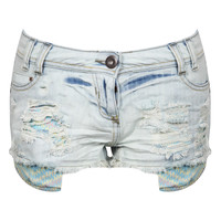 NEW WOMENS BLEACH STONE WASH AZTEC TRIBAL POCKET DISTRESSED DENIM SHORTS LADIES