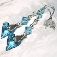 Swarovski 6240 Aquamarine Wild Heart Crystal .925 Dangle Earrings