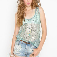 Scalloped Sequin Tank