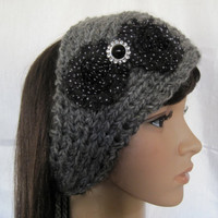 Grey Ear Warmer Headband Headwrap Hand Knit with Black Polka Dot Shabby Frayed Flowers and Black and Rhinestone Accent