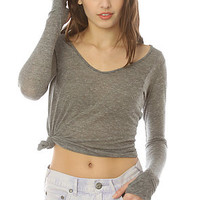 Alternative Apparel Thumbhole Top in Heather Grey