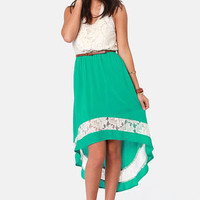 Creekside Path Teal and Cream Lace Dress