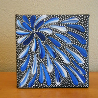 Painting White and Blue Flower Aboriginal Inspired by Acires