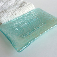 Soap Dish in Silver and Aqua Fused Glass