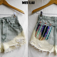 Studded and bleached high waisted shorts by MeiLai on Etsy