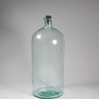 Large Vintage Blue Glass Pharmacy Bottle