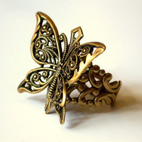 Butterfly Victorian Brass Ring by LeBoudoirNoir on Etsy