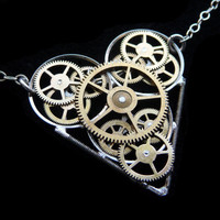 Steampunk Heart Necklace TickTock by amechanicalmind