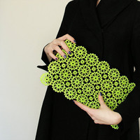 Clutch lime lace large black neon vintage upcycled by PIRIFOOLERY