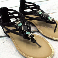 Moonlight Black &amp; Turquoise Cluster Sandals