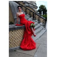 Tangier Haute Couture RED Valentine's Evening Gown by FavrileFinds