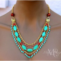 Triple Strand Aqua and Tangerine Chain Necklace