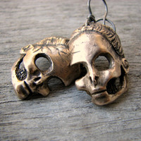Barbie skull earrings titanium &amp; sculptured bronze