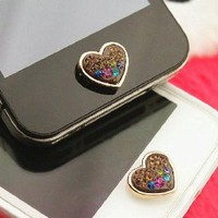 Brilliant Valentine Hearts Crystal Iphone Home Return Keys Buttons Sticker For iPhone 4S iPhone 5 iPod Touch iPad Repair Fix Replace Replace