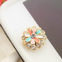 niceEshop Brilliant Bling Crystal Sun Flower Home Return Keys Buttons Sticker For iPhone iPod iPad
