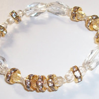 Clear Crystal and gold beaded stretch bracelet